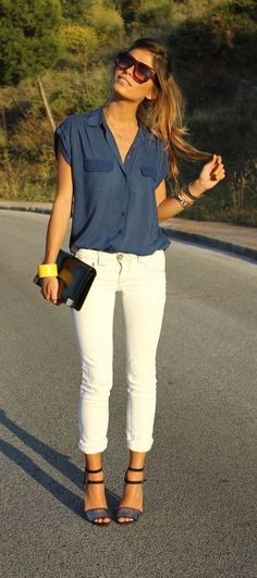 I love this girly work outfit her blue blouse look gorgeous and white skinnies depends with outfit as well #omgoutfitideas #fashion #outfits