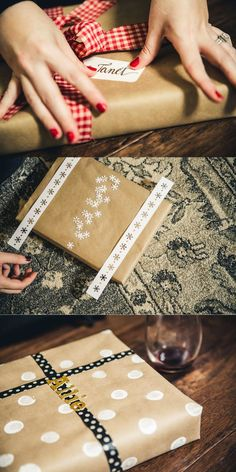 Three fun and festive Black Friday wrapping ideas Ashley Pepitone and for Diy Gift Wrapping Tutorial, Creative Gift Wrapping, Wrapping Ideas, Creative Gifts, Diy Crafts For Gifts, Diy Craft Projects, Gift Packaging, Packaging Ideas, Wine Down