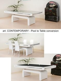 Mod. CONTEMPORARY Pool Table with Dining setup by Etrusco of Mosti Cesare.