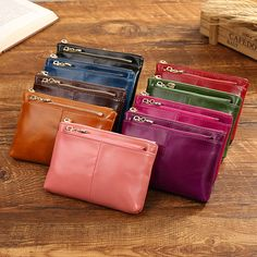 Hot-sale Women Genuine Leather Vintage Pure Color Wallet Coins Bags Card Holder Change Bags - NewChic Mobile.