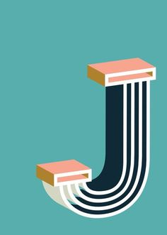 Bold J Art Print by Ruth Vissing #illustration #typography