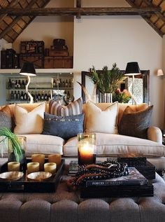 Londolozi Pioneer Camp via Elements of Style Blog...     Love this Cozy Living Room - beige + gray + blue