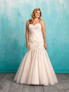 Allure Bridal Women Size Colleciton Delicate Swarovski beadwork adds dimension to this strapless tulle gown. Plus Size Wedding Gowns, Wedding Dress Styles, Bridal Dresses, Bridesmaid Dresses, Illusion Neckline Wedding Dress, Beautiful Wedding Gowns, Gowns Online, Bridal Collection, Marie