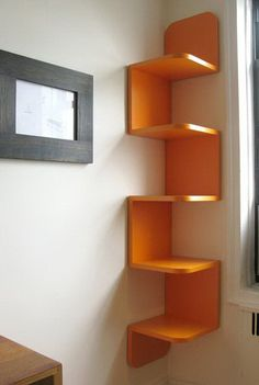 9 Victorious Simple Ideas: Floating Shelves Different Sizes Small Spaces floating shelves diy easy.Floating Shelves Closet Bookcases floating shelves above couch interior design. Wood Corner Shelves, Wall Shelves Design, Wall Shelving, Corner Bookshelves, Creative Bookshelves, Corner Storage, Book Storage, Bookcases, Bookshelf Design