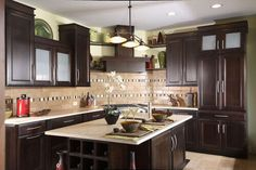 There is a plethora of contrast in this Asian kitchen design without using stark black and whites. With just two tones of brown, you can create a great contrast.