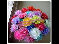 How to stockingflower (Rose Easy DIY )by ployandpoom (ผ้าใยบัว) - YouTube