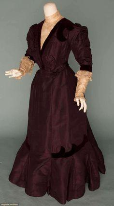 Augusta Auctions, November 14, 2012 NEW YORK CITY, Lot 8: Plum Silk Day Dress, C. 1899