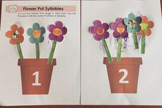 Easy and simple introduction to word syllables. Turtle Ice Cream, Flower Pots, Flowers, Syllable, Learning Centers, Preschool, Bee, Simple, Garden