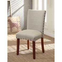Tan Nail Head Parsons Chairs (Set of 2) | Overstock.com Shopping - Great Deals on Dining Chairs