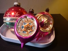 Vintage Christmas  A Trio of Glass Ornaments   Shiny by JBling, $15.99