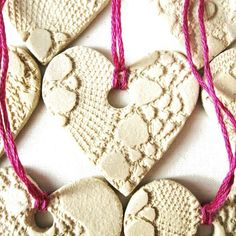 Pottery Christmas Ornaments set of 5 Shabby chic style decorations Ceramic Hearts Teacher, Friend, Bridesmaid gift