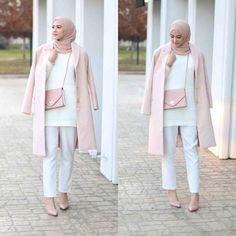 25 early spring outfits in pastel colors Hajib Fashion, Modern Hijab Fashion, Street Hijab Fashion, Muslim Fashion, Modest Fashion, Abaya Fashion, Fasion, Fashion Dresses, Korean Spring Outfits