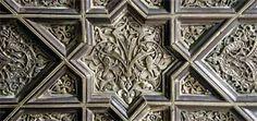Detail of a silver door panel