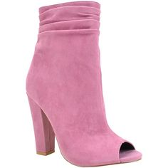 Shoe Republic LA Mauve Bowman Bootie ($30) ❤ liked on Polyvore featuring shoes, boots, ankle booties, ankle boots, slouch boots, short boots, slouch bootie, side zip boots and bootie boots
