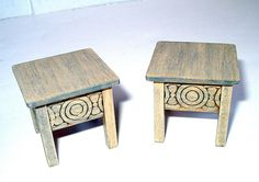 Rustic Medieval Stools, Two Stools, Scandinavian, Dollhouse Miniatures 1/12 Scale, Hand Made in the USA