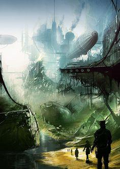 Alexander Preuss #Landscape #Industrial #Steampunk #Dirigible #Postapocalyptic
