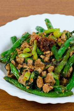Stir-fried Green Beans with Minced Pork (乾扁四季豆) from Christine's Recipes