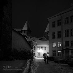 tallinn old town at night by dzorma