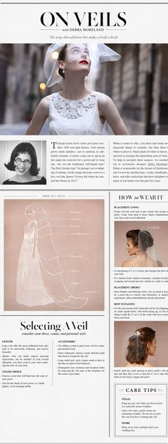 A veils guide for the modern bride. Wedding day hair.