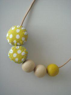 Handmade Yellow Fabric Pebble Necklace with by ShopIndigoRocket