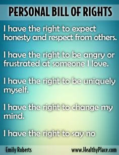 Blog Post: Do you know you emotional rights?  Emotional Bill of Rights