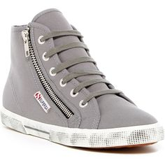 Superga Cotu Zip High Top Sneaker (14.395 HUF) ❤ liked on Polyvore featuring shoes, sneakers, grey sage, grey high tops, zip sneakers, gray sneakers, high-top sneakers and lace up shoes