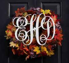 """""""Easy to make monogram wreath for fall""""  Awww monograms and wreaths. My two least favorite things, together at last."""