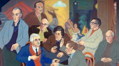 Poet's Pub by Sandy Moffat. From left to right are pictured: Norman MacCaig, Hugh MacDiarmid, Sorley Maclean, Iain Crichton Smith, George Mackay Brown, Sydney Goodsir Smith, Edwin Morgan and Robert Garioch. The setting is an amalgam of the interiors of their favourite drinking haunts in Edinburgh: Milne's Bar, the Abbotsford and the Café Royal.