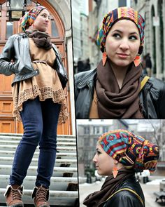 Great colors and patterns on this tichel/covering super stylish headwrap. very tichel-ish