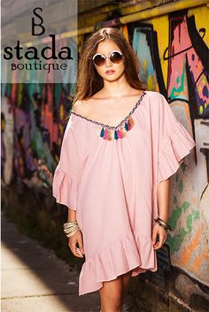 #oversized #dress #StadaBoutique #GeorgianaStavrositu Oversized Dress, Cover Up, Shoulder Dress, Tunic Tops, Women's Fashion, Boutique, Shopping, Dresses, Vestidos
