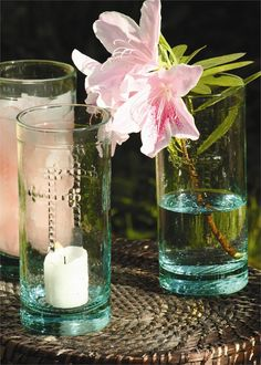Recycled Glass Candle, Vase or Drinkware with Cross Detail: Set of 6