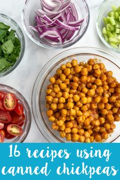 Chickpeas, also known as garbanzo beans, are full of plant-based protein! Here are 16 Recipes Using Canned Chickpeas from salads to tacos, hummus, and more! Garbanzo Bean Recipes, Chickpea Recipes, Vegan Dinner Recipes, Dairy Free Recipes, Breakfast Recipes, Vegetarian Recipes, Cooking Recipes, Healthy Recipes, Bariatric Recipes