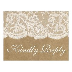 The Kraft & Lace Wedding Collection RSVP Postcard