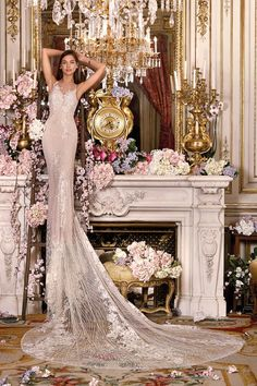 Glam wedding dress idea - sheath wedding dress with lace + shimmering details. Style DP369 by Demetrios.