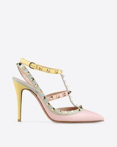 Studs,Multicolor Pattern,Buckling ankle strap closure,Leather sole,Narrow toeline,Spike heel,