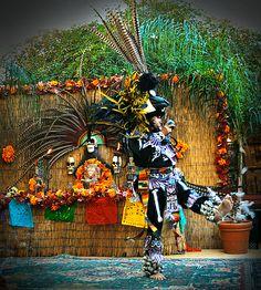 El Dia de los Muertos performed by the Nahui Ollin Aztec Dancers from Mexico City.