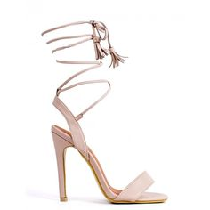 BUMP 'N GRIND NUDE LACE UP STRAPPY HEELED SANDALS (€29) ❤ liked on Polyvore featuring shoes, sandals, strappy lace up sandals, strap sandals, strappy stiletto sandals, high heel shoes and strappy sandals