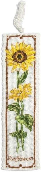 Anchor Sunflower Bookmark - Cross Stitch Kit. Complete kit contains 15 count white Aida band, pre-sorted Anchor floss, needle, chart, full instructions, backing