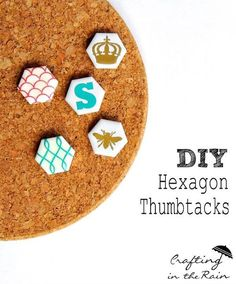 DIY some stylish thumbtacks with hexagon tiles