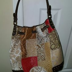 Leather Patchwork hobo bag and wallet Like New...never used wallet bebe Bags Hobos