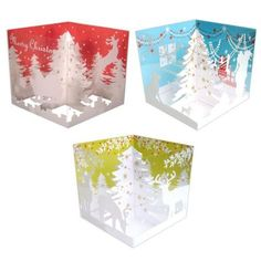 tree box pop-up card Diy Christmas Cards, Xmas Cards, Holiday Cards, Christmas Crafts, Libros Pop-up, Acetate Cards, Tree Box, Holiday Pops, Pop Up Art