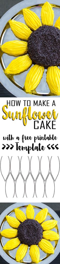 It is so easy, you can make and decorate this Sunflower Cake with your kids! Cupcake Recipes, Baking Recipes, Cupcake Cakes, Dessert Recipes, Easy Recipes, Korean Recipes, Instant Recipes, Italian Recipes, Yummy Treats
