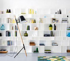 Modern living room furniture from BoConcept Boconcept, Ceiling Shelves, Shelving, Bookcase Wall, Bookshelves, Living Room Inspiration, Home Decor Inspiration, Muebles Living, Built In Furniture