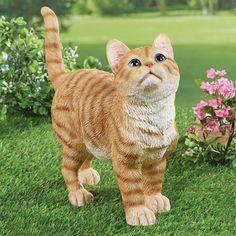 Happy Orange Cat Praying Figurine Whimsical Statue *CAT LOVER GIFT CAT DECOR