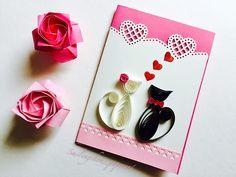 Katze, handgemacht, Geburtstagskarte, Grußkarte, Geschenk, Hochzeit, quilled, Papier, Origami, cat, fallinlove, Kunst, einzigartig, Liebe paperart, DIY, do it yourself, art, papercut, quilling, wedding, present, gift