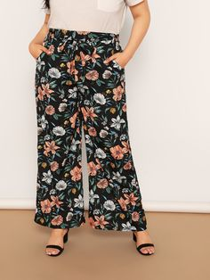 Plus Waist Belted Flower Print Wide Leg Pants Plus Size Pants, Plus Size Tops, Plus Size Women, Plus Size Dresses, Plus Size Outfits, Pop Fashion, Fashion News, Spring Fashion, Dresser