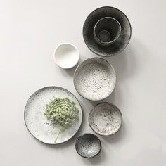 Grey and white ceramic bowls