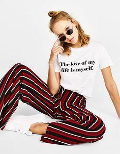 Ecologically grown cotton T-shirt with slogan - Bershka #t-shirt #quote #white #inspiration #girl #trendy #fashion