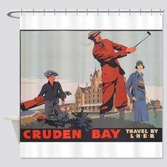 Cruden Bay, Aberdeen, Scotland , Go Shower Curtain Aberdeen Scotland, Golf Theme, Curtains, Shower, Prints, Design, Rain Shower Heads, Blinds