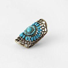 Bague à pierres turquoises style indien